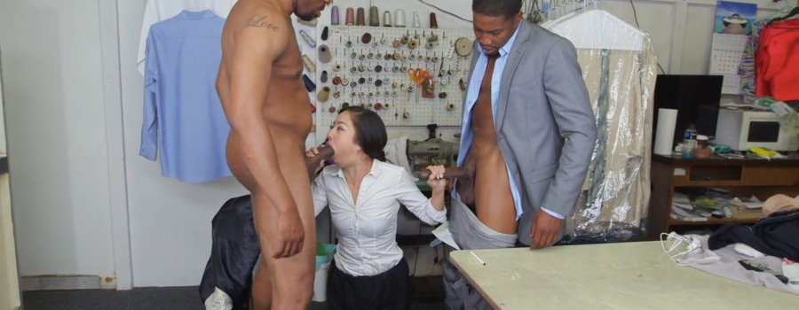 Japanese girl fucked in all holes by two black guys